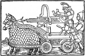 A four-wheeled ballista drawn by armored horses, from an engraving illustrating a 1552 edition of De Rebus Bellicis.