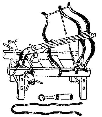 "Chinese Chuangzi Nu stationary windlass device with triple-bow arcuballista Credit: ""Chinese Siege Warfare: Mechanical Artillery & Siege Weapons of Antiquity"" by Liang Jieming (ISBN 981-05-5380-3)"