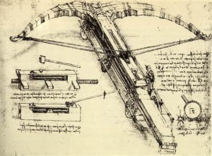 """DaVinci Crossbow"" by Leonardo da Vinci - http://www.sandia.gov/tp/SAFE_RAM/CRSBW.HTM. Licensed under Public Domain via Commons - https://commons.wikimedia.org/wiki/File:DaVinci_Crossbow.JPG#/media/File:DaVinci_Crossbow.JPG"