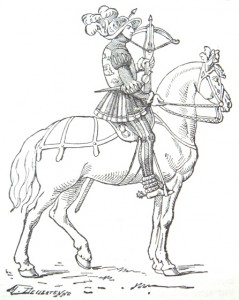 16th Century French mounted crossbowman. Image credit: Encyclopedie Larousse Illustree 1898.