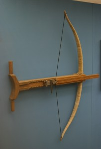 Reconstruction of a Gastraphetes, an ancient Greek crossbow, in the Saalburgmuseum at Bad Homburg v. d. Höhe, Hesse, Germany. Image credit: Haselburg-müller