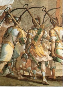 Fresco by Lazzaro Tavarone at the Palazzo Cattaneo Adorno, depicting the crossbowmen of Genoa during the storming of Jerusalem.