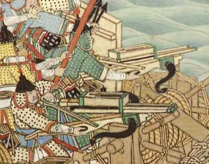 "Picture of a section of a Naval Battle Scroll from the Imjin War. Korean warriors from Joseon dynasty with crossbows. Image credit: Chinese Siege Warfare: Mechanical Artillery & Siege Weapons of Antiquity"" by Liang Jieming, ISBN 981-05-5380-3"