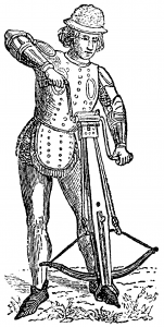 A Nordic crossbowman using a windlass to draw the string. Image credit: Nordisk familjebok (1904), vol.2, p.5