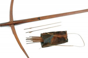 Crossbow, arrows, and quiver from West Africa, probably Fan or Aka, 19th Century. Image credit: Museum of Anthropology, College of Arts and Science, University of Missouri
