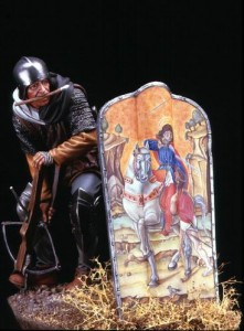 "Model of a medieval Pavese shield (with Bartolomeo Vivarini's ""St. Martin and the Beggar"" painting on it) and crossbowman. Image credit: Ugo Pozzati"
